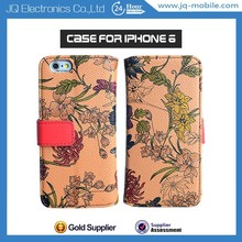 100% Perfect Suit Flip Wallect Card Leather Case for iphone6,Colorful Printing Flower Stand Pouch For Iphone6