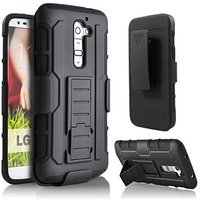 Hybrid Rubber Rugged Armor Belt Clip Holster Case Cover For LG G2