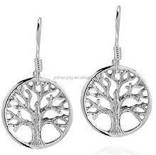 High Polished Stainless Steel Tree Of Life Earrings