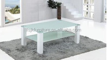 2 layers glass coffee table design MDF legs