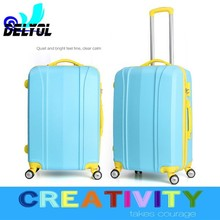 cream color 3pcs abs luggage set trolley bag/trolley luggage with 4 universal wheels