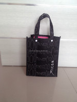handle printing small black non woven bag with button