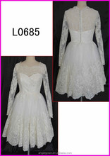 2015 guangzhou vintage lace long sleeves short length A-line wedding dresses with button and sweetheart L0685