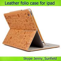 Cute cartoon super slim smart folio leather case for ipad 2 3 4 air mini , for ipad case super slim ,for ipad air case leather