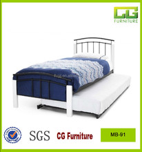 4 white wooden post black metal single bed with trundle bed
