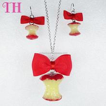 cheap price resin fruit shape nylon grosgrain ribbon bow decoration wholesale jewelry set 2015