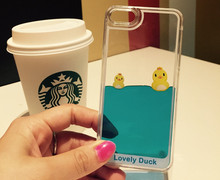 Fashion design 3d liquid rubber duck swimming floating phone case for samsung galaxy j1 made in china phone case