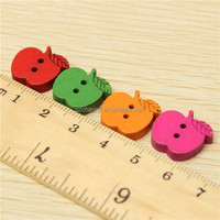 2015 New 100pcs Mixed 2 Holes Colored Fruit Pattern Wood Buttons For DIY Clothing Accessories Handmake Sewing New