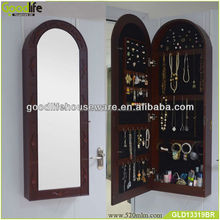 Wall Mount Jewelry Armoire With Mirror - Dark Cherry
