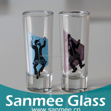 Thin Pencil Vase Shape Dancing Man Decal Shot Glasses