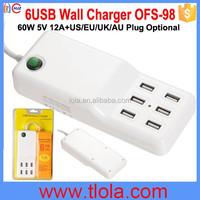 72W 12A Max 2.1A Portable 6 USB Charger with US/EU/UK/AU Plug Optional