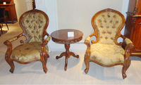 Antique Soild Wood Hand Carved Fabric Leisure Chair, Arm Chair