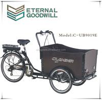 China bikes 3 wheels bicycle 6speeds cargo bikes 36V 9Ah bisiklet family electric cargo bike/cargobike/bakfiets UB9019E trikes
