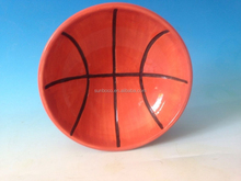 """well received 8"""" basketball shaped ceramic dog water bowl"""