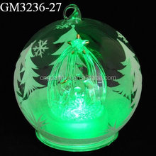 christmas hanging glass ball with handpainted snowtree and crib inside