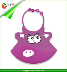 Silicone bib for baby with lovely pattern like pig's mouth, monkey, mickey etc.