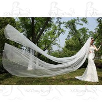 4 Meters Long Train Lace Bridal Veil Bridal Accessories Double Layer Cut Side Wedding Veils Two Layers With Comb