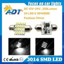 31mm Xenon White Dome 3014 LED Car Festoon Interior Light Bulb