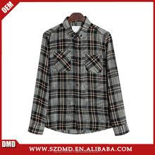 Men long sleeve cotton plaid custom flannel shirt