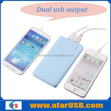 Colorful light and thin dual-usb output mobile smart phone power bank 4000mah