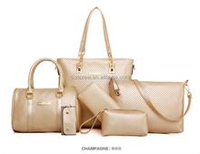 Factory price stock wholesale and OEM manufacture multi colors 5in1 ladies wallet ladies pars hand set bag genuine wal