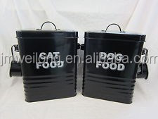 Rectangle Scoop Black Galvanized Metal Canister/Storage Bin/Pet Food Three lines Remoable Lid_Alibaba Golden Supplier