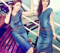 Vintage New Casual Slim Sleeveless skirt Denim/Jean Dress for women/lady summer 2105