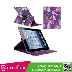 Fast Shipping Rose Flowers Leather Case for iPad 2 3 4 with 360 Degree Rotatory Stand