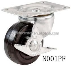 """2""""2.5""""3""""4"""" swivel/rigid/brake black rubber/pp/nylon fat caster N001"""
