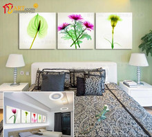 High-quality 3 panels modern wall flower painting home interior decorator