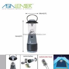 4 LED Mini Aluminum Camping Lantern with 4AA Battery