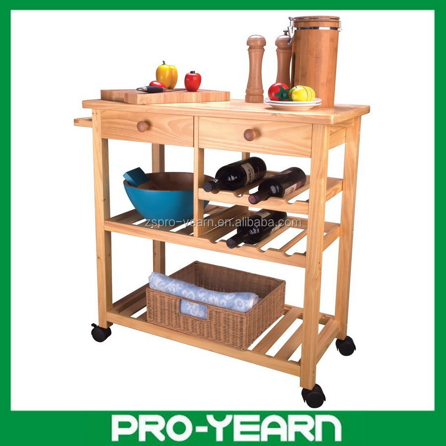 Modern Design Wooden Kitchen Trolley With 4 Tier And 2 Drawer And 4 Caster And 1 Handle View