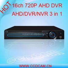 Barato híbrido dvr h.264 720 P ahd dvr nvr 3in1 16ch dvr cms software libre para la seguridad casera soporte p2p