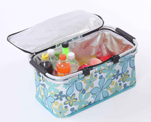 Perfect 600D Oxford aluminum Insulated Collapsible Folding Picnic Cooler Basket bag