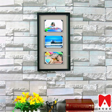 """White family tree 3 pictures Glass photo frame with word """"family"""""""