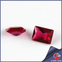 13*18mm rectangle pricess cut ruby red glass making