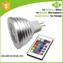 12V 3W RGB MR16 LED Light Bulb - Color Changing LED Spotlight w/ IR Remote Control, Memory Function, Bead Surface 60 Degree Beam