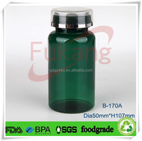 170cc ink green PET plastic liquid medicine bottle,sealed plastic capule medcine bottle with double platic PP lid / cap