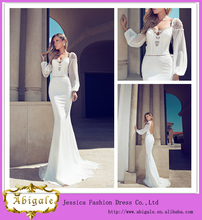 Blanco sirena de manga larga de encaje sin respaldo piso-longitud vestido de novia de estilo ruso 2014 (QU0865)