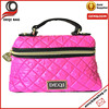 Top Handle Quilted Cosmetic Case Makeup Bag Pink