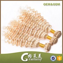 Europe aliexpress wholesale high quality grade 7a curly brazilian human hair extension blonde