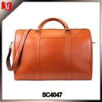 Super big capacity genuine leather brown travel storage bags