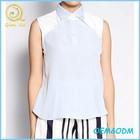 OEM service High quality women clothing blue sleeveless cool chiffon top blouse