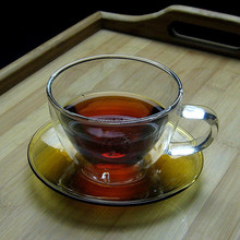 hot sales 200ml hand made double wall glass cup and coloure saucer,double wall cup , glass cup and colour plate,