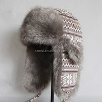 Fake Fur Military Style Knitting Fabric Winter Trapper Hat ,Faux furEarlap Hat
