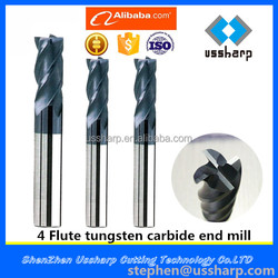 Tungsten high hardness solid carbide end mills/milling cutter