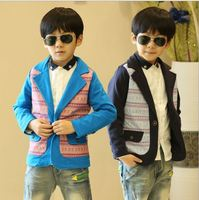 autumn&spring in 2015 new national wind triangular cloth knitting wholesale long-sleeved boy suit manufacturer
