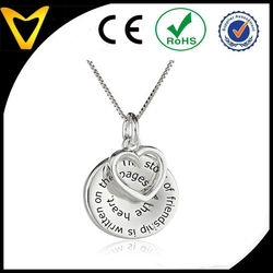 Silver The Story of Friendship Disc and Heart Pendant