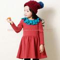 Vestir muchacha de los niños del otoño de manga larga, la fiesta de Navidad Dulces vestidos rojos, ropa al por mayor de 3-8 años