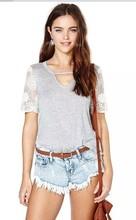 camisa de manga corta de encaje china Alibaba espalda desnuda de algodón mujeres camiseta